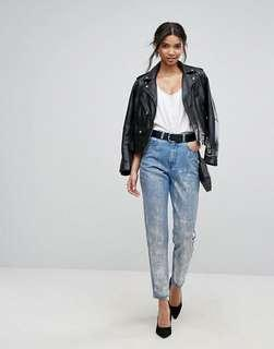 Dr Denim Mom Jeans with Silver Coatinf