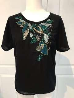 H&M sequin beading, sheer back blouse
