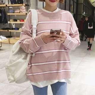 🚚 粉色條紋針織毛衣 上衣