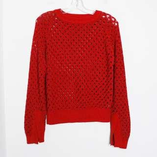 Zara knit red metallic shiny sweater L large