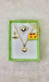 18K Saudi Gold Necklace&Earring set