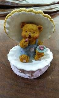 Vintage delicate crafted bear and pink shell