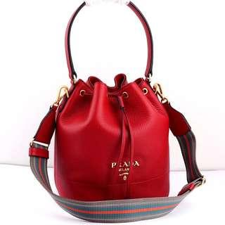 Authentic Prada Leather Bucket Bag - Red + Aged Gold Hardware GHW