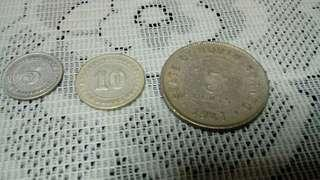 Straits Settlement 5,10 cent, North Borneo10 cent (3pcs)