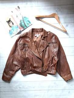 Genuine Leather Oversized Jacket Model Harley Coklat Import