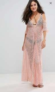 Kaftan river island lace cold shoulder beach cover up