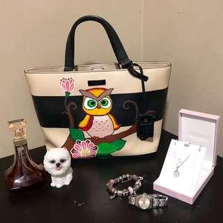 Authentic Kate Spade - Hand Painted Owl Design