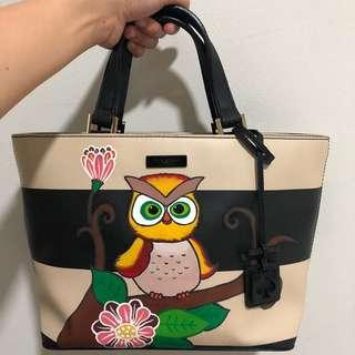 Authentic Kate Spade Bag - Hand Painted Owl Design