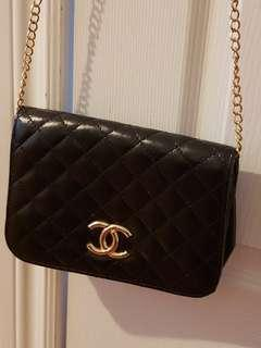 Chanel Black Quilt Crossbody Purse Bag Gold Chain
