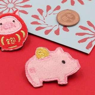 Piggy Bank Embroidery Brooch