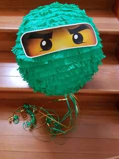 Handmade green Ninjago pinata