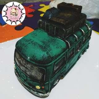 ON HAND CERAMIC VINTAGE COIN BANK BUS