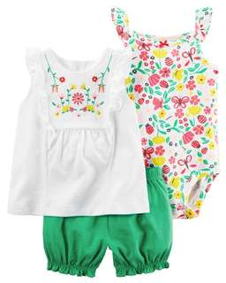 caaef5cc6 *18M Brand New Instock Carter's 3 Pc Bubble Shorts Set Rompers Onesies  Bodysuit Pants Girls