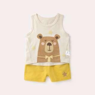🚚 Brown Bear Singlet with Yellow Pant Set (NCS 007)