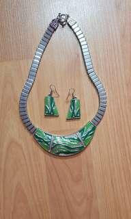 Necklace and earring set green silver