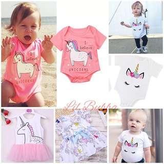 [Ready Stock] Unicorn Romper/ Unicorn Onesie/ Unicorn Dress/ Unicorn Tee