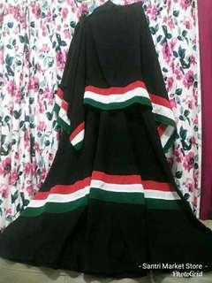 Gamis hitam palestina+kerudung palestina