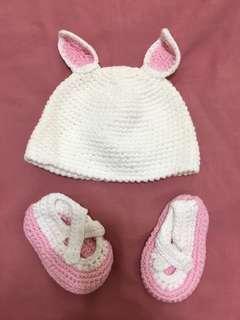 🚚 鉤織兔耳帽鞋組