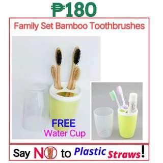 Family set bamboo toothbrushes