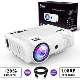 🚚 DR.Q L8 Projector, Upgraded 2600 Lumens Video Projector, Mini Projector Supports 170 Inch 50000 Hours 1080P HD, Compatible with Fire TV Stick Game Console Chromecast PC Phone HDMI VGA USB TF, White