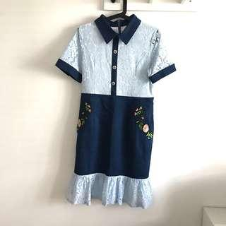 Size M Blue lace and denim dress with flower embroidery @sunwalker