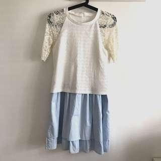 Size S white and light blue dress @sunwalker