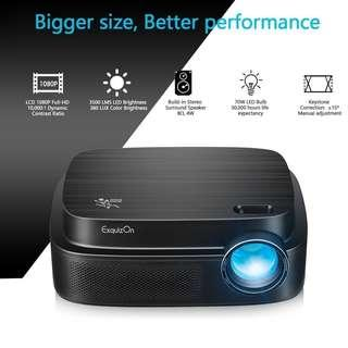 🚚 ExquizOn Projector, 3500 Lumens HD Video Projector 200'' Home Cinema LCD Movie Projector Support 1080P HDMI VGA AV USB Micro SD Ideal for Home Theater Entertainment Party and Games