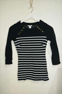 Hnm baju leangan panjang - baju hitam - baju garis garis