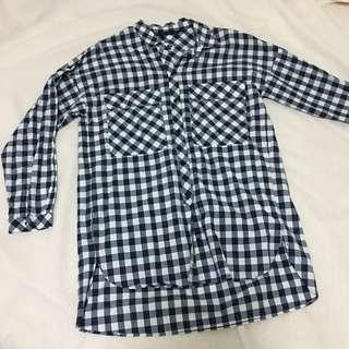 Zara oversized checkered button down longsleeves polo