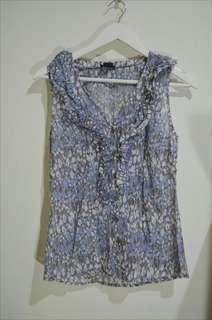 Tank top floral - baju biru - flower tank top - pattern