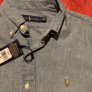 Auth B new Ralph lauren Light denim jean button front shirt