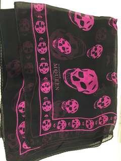 Preloved McQueen Authentic silk scarf black