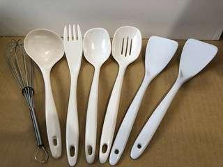🚚 6件美耐皿烹飪用具+打蛋器