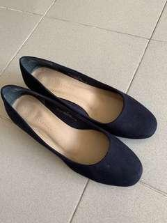 M&S 馬莎 Marks & Spencer 藍色粗踭鞋