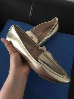 FLAT SHOES STRADIVARIUS UK 39 GOLD