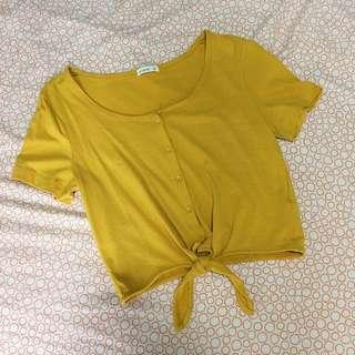 Cotton on Mustard button Crop top