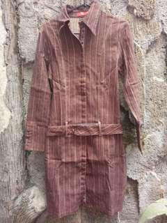 Terusan/atasan formil coklat mat jeans stretch