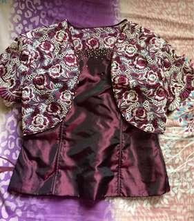 Maroon Lace Gown/Lace Filipiniana Gown