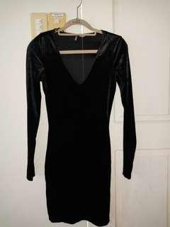 Branded H&M black velvet dress