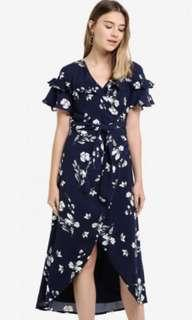 MDSCollections Nolana Ruffled Dress In Navy Navy Floral