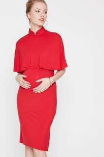 Maternity Caped Cheongsam Red-  DOTE