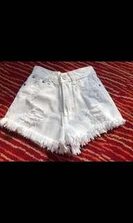 Young Girls White Jean Shorts