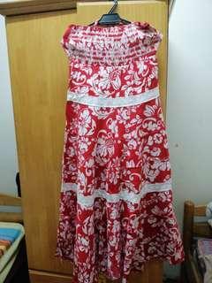 Off shoulder red floral dress