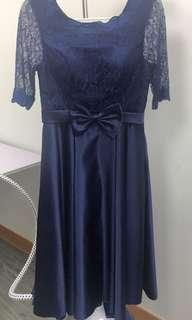 寶藍色連身禮服裙
