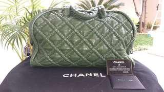 Chanel quilted bowling bag in green army