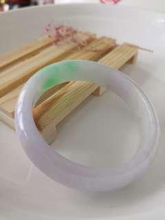 58mm Burmese Type A Icy Translucent Lavender n Green Jadeite Jade Bangle