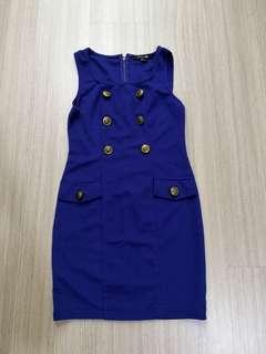 Forever 21 navy blue button dress