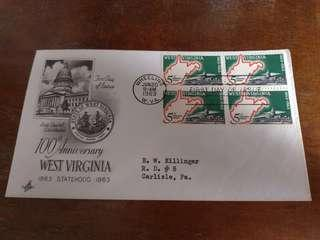 美國 60年代 郵票四方連 首日封