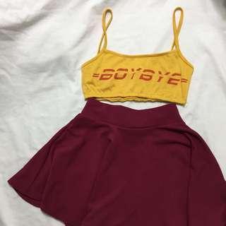 Ig baddie look #2 ( dhl inspired boy bye yellow bralette, maroon skater skirt)