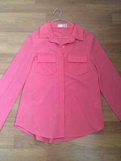 Voir G&H Orange Pink Chiffon Blouse Shirt
